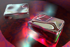 Cubes ice. Scene cubes ice in red liquid Royalty Free Stock Photography