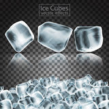Cubes of ice with the effect of transparency and reflection. Hig Stock Photos