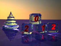 Cubes from ice. Figures 2012. Pyramid as New Year's fur-tree and cubes from ice. Figures 2012. 3D render Stock Photo