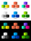 Cubes icon and logo design. Collection of 6 vector cubes / bricks icons in many colors on white and black background Royalty Free Stock Photo