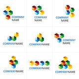 Cubes icon and logo design. Collection of 9 vector isolated cubes icons in many colors with company name lettering on white background. Ideal for corporate logo stock illustration