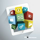 Cubes with icons Royalty Free Stock Photos