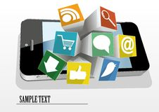 Cubes with icons Royalty Free Stock Images