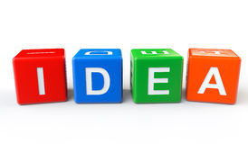 Cubes with Idea sign Stock Images