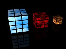 Cubes with images. Isolated on black background Royalty Free Stock Photography