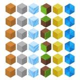 Cubes isométriques en brique de jeu de bande dessinée réglés Photographie stock libre de droits