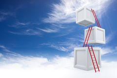 Cubes with Ladders. 3D Rendering Royalty Free Stock Photography