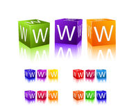 Cubes with letter w Stock Images