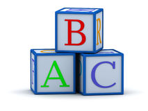 Cubes with letters ABC. 3D cubes with letters ABC (The image can be used as background for printing and web Stock Photos