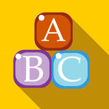 Cubes with letters A,B,C icon, flat style Stock Photo