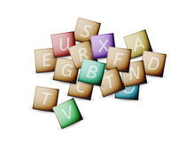 Cubes and letters. With different colors on white background Royalty Free Stock Image