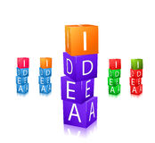 Cubes with letters and word idea icon set Stock Photos