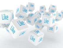 Cubes with a like, 3D images Stock Photo