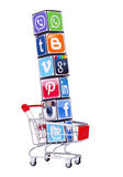 Cubes with logotypes of social media Stock Photography