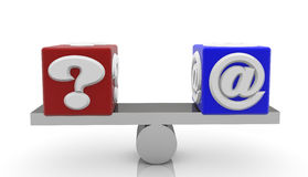 Cubes with message question and e-mail signs on seesaw Royalty Free Stock Photos