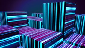 Cubes in neon lines. Abstract bright neon cubes. Abstract animation with moving cubic figures in space on dark royalty free illustration