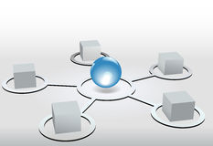 Cubes network nodes connect to blue sphere Stock Photos