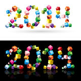 2014 in cubes. New Year 2014 number made of colorful cubes on white and black backgrounds Royalty Free Stock Image