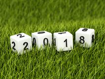 Cubes with 2018 New Year sign on grass. 3D illustration vector illustration