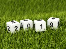 Cubes with 2019 New Year sign on grass. 3D illustration vector illustration