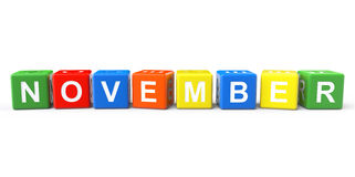 Cubes with November sign Royalty Free Stock Photography