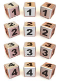 Cubes with numbers Stock Images