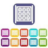 Cubes with numbers on playground icons set Royalty Free Stock Photos
