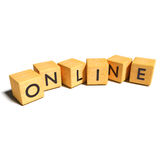 Cubes and online. Wooden cubes and online business stock photos