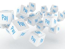 Cubes with a pay, 3D images Stock Photo