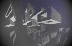 Cubes pencil drawing. Two vanishing points perspective - cubes and 3d shapes pencil drawing studied in school by a 5th grader (myself many years ago Royalty Free Stock Images