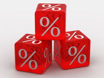 Cubes with percent. Very beautiful three-dimensional illustration, figure.Cubes with percent.3d Stock Photos