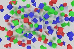 Cubes, piramid and balls Stock Image