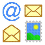 Cubes pixel image of blue email at symbol Stock Image