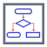 Cubes pixel image of flowchart icon Royalty Free Stock Photography
