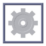 Cubes pixel image of gray cogwheel in frame Stock Photo