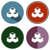 Cubes plats en icônes Photos stock