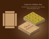 Cubes pour des enfants Peut être employé comme calibre pour la coupe de laser Placez pour le jeu Partie 3 Photographie stock libre de droits