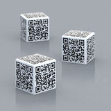 Cubes with qr code. Three cubes with qr code 3d illustration Royalty Free Stock Photos