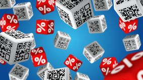 Sale. Cubes with QR code labels and percent symbols falling down. Concept of sale stock footage
