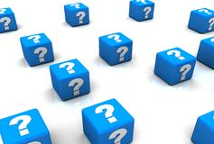 Cubes with Question Marks. In 3d Royalty Free Stock Photos