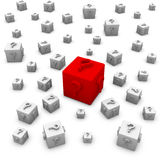 Cubes with question marks. Royalty Free Stock Image