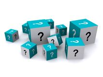 Cubes with question marks. A collection of blue and white cubes with black and white question marks.  White background Royalty Free Stock Photo