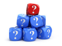 Cubes with question marks Stock Photos