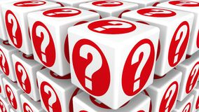 Cubes with Question Marks Stock Image