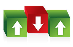 Cubes with red and green arrows Stock Photos