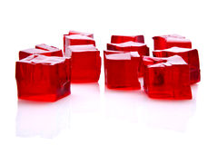 Cubes of red jelly stock photo
