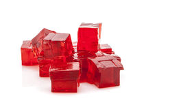 Cubes of red jelly Stock Images