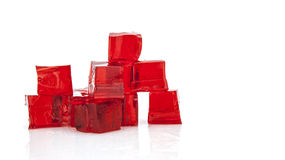Cubes of red jelly Royalty Free Stock Image