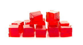 Cubes of red jelly stock photography