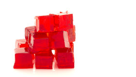 Cubes of red jelly Royalty Free Stock Photo